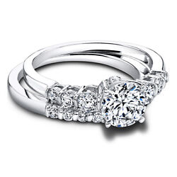 950 Platinum Solitaire Round 1.20 Ct Real Diamond Band Set For Bride Size 5 6 7