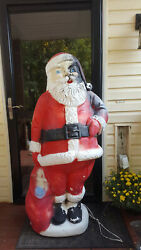 Vintage Blow Mold Large Lighted Out Door Santa Figure 60 5ft Tall