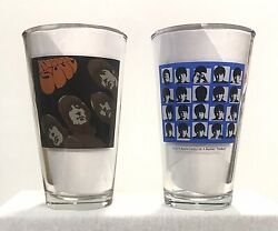 Set Of 2 The Beatles Collectible Pint Glasses Rubber Soul A Hard Day's Night