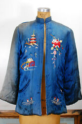 Antique Yamato Co Japanese Silk Satin Quilted Embroidered Jacket Made In Japan