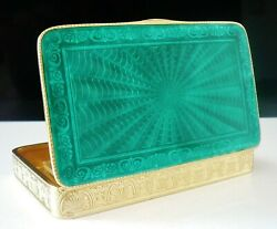 Quality Sterling Silver Guilloche Enamel Box Continental C.1930and039s