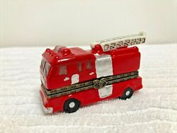 Red Fire Truck Fire Engine Hinged Trinket Box Outstanding Condition D26