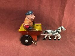 Popeye Mean Man Horse And Cart Wind-up Vintage Tin Toy Working With Box Marx Toys