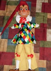 Wooden Head Hand Carved Puppet Jester Cloth Punch And Judy Inspired German R.w.