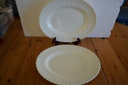 2 Jandg Meakin Classic White Ironstone 13.25 Oval Serving Platter - England