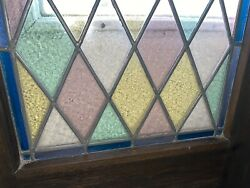 Pair Vintage Stained Leaded Glass Window Old Solid Oak Wood Church Chapel Doors