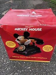 New Vintage Disney Mickey Mouse Talking Alarm Clock, Radio And Telephone In Box