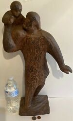 Vintage Fine Art Inuit Carving Wood 20 1/2 Tall Weighs 6 Pounds Heavy Duty
