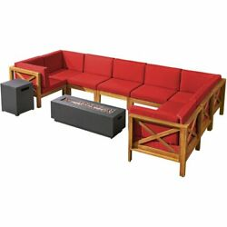Thasos Wood 8 Seater U-shaped Sectional Sofa And Fire Pit Teak Red/dark Gray