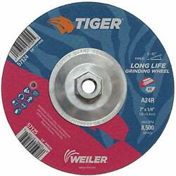 Weiler 57124 Tiger 7 Grinding Wheel Type 27 1/4 Thick A24r 5/8-11 Unc Nut ...