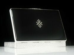 Immaculate Sterling Silver Black Onyx Marcasite Box Probably Austrian C.1930and039s