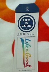 Nwt Life Is Good Oversized Beach Towel Cloud White 100 Cotton 65 X 38