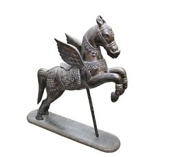 Vintage Horse Figurines, Vintage Wood Horse Silver Coated Handcraft Collectible