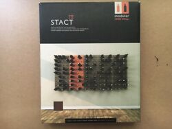 Stact Wine Rack, Wood Modular Wall Hanging System C-type Walnut Finish Cork Out