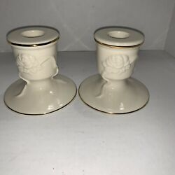 Pair Of Lenox Ivory China Rose Blossom Embossed Candle Holders With Gold Trim