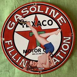 Vintage Style Texaco-gas And Oil Filling Station Pin-up Porcelain Sign 12 Inch