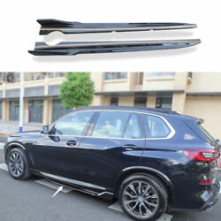 Fit For Bmw X5 G05 2019-2021 Abs Black Side Skirts Extension Spoiler Lip 2pcs