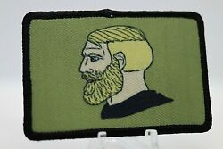 bearded Chad yes meme 2quot;x3quot; hook amp; loop backing morale patch