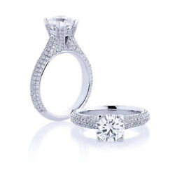 Solitaire Round 1.50 Ct Real Diamond Engagement Ring 950 Platinum Size Selective