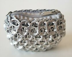 Pop Top Make Up Flexible Zip Change Bag New Made From Silver Soda Can Tabs