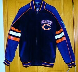 Mens Chicago Bears Suede And Leather Varsity Jacket Coat Med New