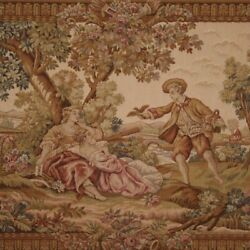 Large Romantic Tapestry Antique Style Fabric Frame Gilded Wood 20th Century 900