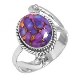 925 Sterling Silver Ring Copper Purple Turquoise Handmade Jewelry Size 5 Er25540