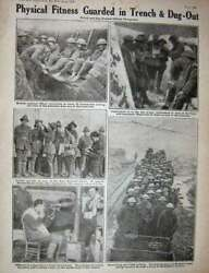 Antique Old Print Ww1 1918 Britains Flying Men Italy Flanders Trench Army