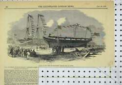 Original Old Antique Print 1850 Scene Launch Earl Hardwicke Whaling Ship Cowes