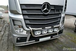 To Fit Mercedes Arocs Polished Steel Grill Light Bar C + Oval Led Spots X4
