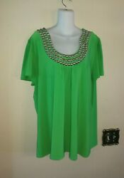 New Without Tags Women New Directions Decorated Green Top Size 2x