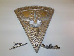 Vintage Usn Uss Proteus As-19 Plaque Patrol Pin And Nuclear Class Sub Tie Bar