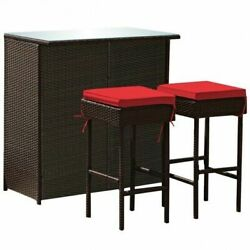 3pcs Patio Rattan Wicker Bar Table Stools Dining Set-red - Color Red