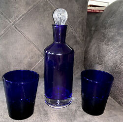 """10"""" Tall Cobalt Blue Ultimat Vodka Decanter W/clear Bubble Bottom And 2 Glasses"""