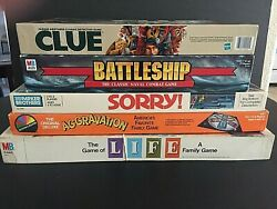 Vintage Lot Of 5 Classic Family Board Games - Life - Clue - Sorry - Aggravation