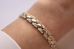 1.5 Ctw Natural Diamond G-h Si Solid 14k Yellow Gold Heavy Link Bracelet 6.5