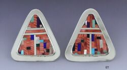 Lovely Pair Medina American Indian Sterling Silver And Stone Mosaic Inlay Earrings