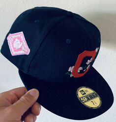 Navy Blue Cleveland Indians Fitted 7 1/4 Pink Bottom Bloom Collection