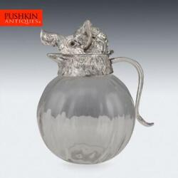 Novelty 20thc Silver Plated And Glass Boars Head Shaped Jug C.1960