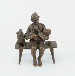Late 1800s/early 1900s Austrian Small Bronze Figurine Old Man Toddler And Dog