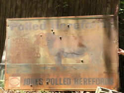 Antique Local Metal Sign Jones Polled Herefords Cow Dairy Farm Art Signpick Up