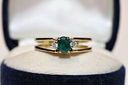 Vintage 18k Gold Natural Diamond And Emerald Ruby Two Face Pretty Ring