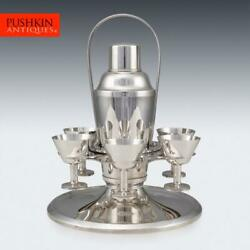 Superb 20thc Art Deco Silver Plated Cocktail Shaker And Glasses On Stand C.1930