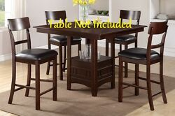 Modern Rectangular Shaped Back Dark Chocolate Faux Set Of 6 Counter Height Chair