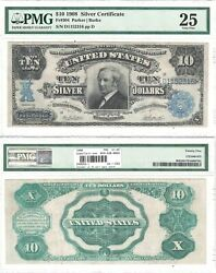 1908 10 Silver Certificate Tombstone Note Fr 304 Pmg Vf-25