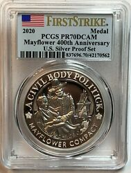 2020 Mayflower 400th Anniversary Medal Pcgs Pr70 Dcam From Us Silver Proof Set