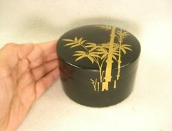 Antique Japanese Black Lacquer Small Lidded Container Case Box Bamboo