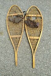 Snowshoes Faber Wooden Vintage Canada 36x11 Snow Shoes Wood Leather Rawhide
