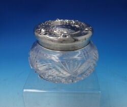 Floral By Unger Sterling Silver Powder Jar With Cut Crystal 3 1/4 Tall 5154