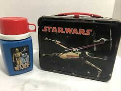 Vintage 1977 Star Wars Metal Lunch Box With Matching Thermos Rare